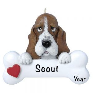 Basset Hound Personalized Christmas Ornament