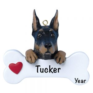 Doberman Pincher Personalized Christmas Ornament