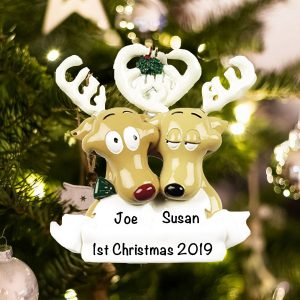 Personalized Reindeer Couple Christmas Ornament