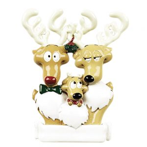 Reindeer Family of 3 Personalized Christmas Ornament - Blank