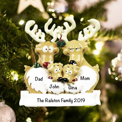 Personalized Reindeer Family of 4 Christmas Ornament