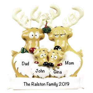 Reindeer Family of 4 Personalized Christmas Ornament