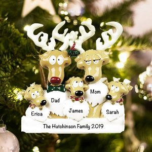 Personalized Reindeer Family of 5 Christmas Ornament