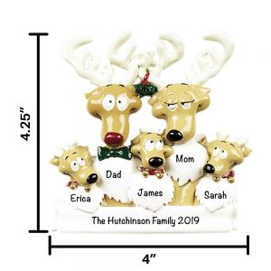 Reindeer Family of 5 Personalized Christmas Ornament