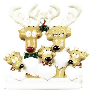 Reindeer Family of 5 Personalized Christmas Ornament - Blank