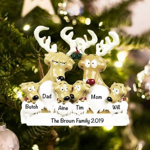 Personalized Reindeer Family of 6 Christmas Ornament