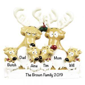 Reindeer Family of 6 Personalized Christmas Ornament
