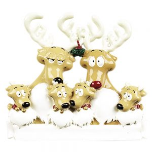 Reindeer Family of 6 Personalized Christmas Ornament - Blank