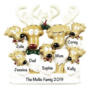 Reindeer Family of 7 Personalized Christmas Ornament