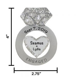 Engagement Ring Personalized Christmas Ornament