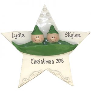 2 Peas in a Pod Personalized Ornament