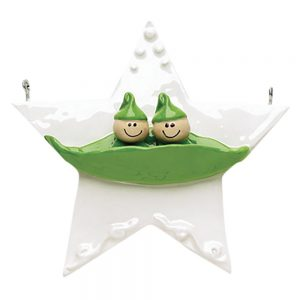 Two peas in a pod Personalized Christmas Ornament - Blank