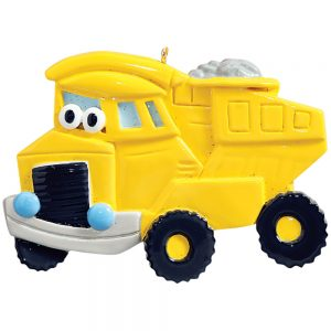 Dump Truck Personalized Christmas Ornament - Blank