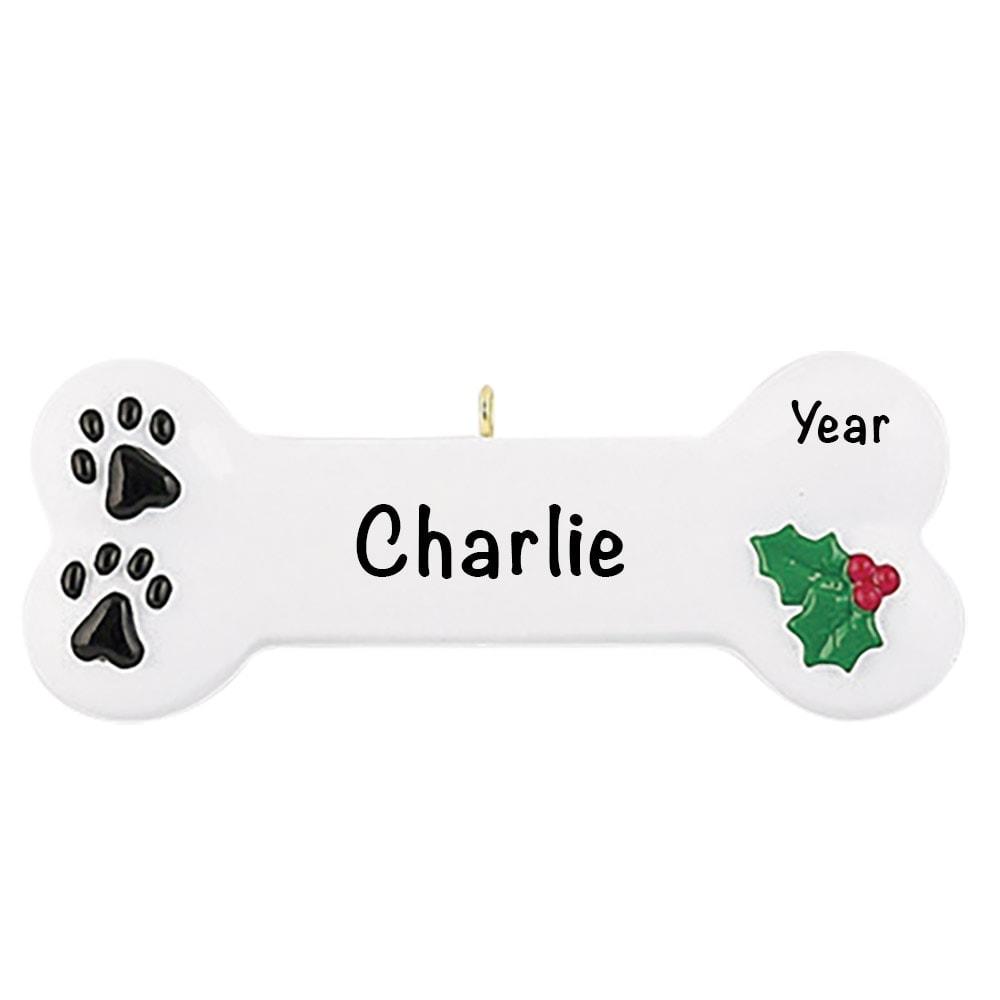 White Dog Bone Personalized Christmas Ornament