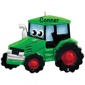 Green Tractor Toy Personalized Christmas Ornament