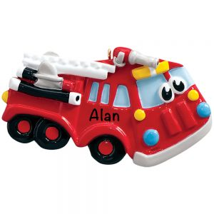 Firetruck Toy Personalized Christmas Ornament