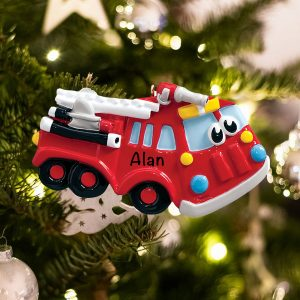 Personalized Firetruck Toy Christmas Ornament
