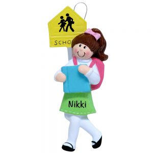 School Girl Personalized Christmas Ornament