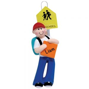 School Boy Personalized Christmas Ornament