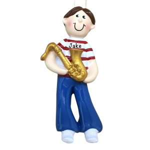 Saxophone Boy Personalized Christmas Ornament