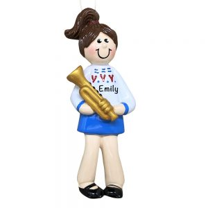 Trumpet Girl Personalized Christmas Ornament
