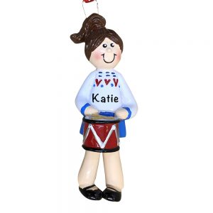 Drummer Girl Personalized Christmas Ornament
