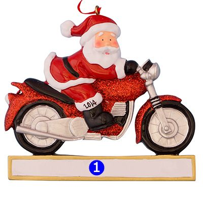 Santa Motorcycle Personalized Ornament