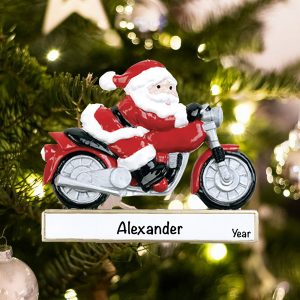 Personalized Santa on Motorcycle Christmas Ornament