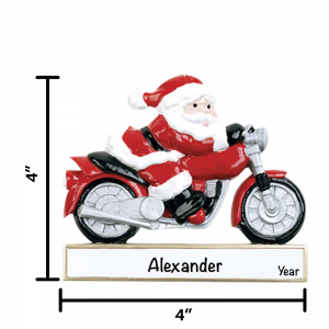 Santa Motorcycle Personalized Christmas Ornament