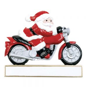 Santa Motorcycle Personalized Christmas Ornament - Blank