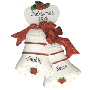 Wedding Bells Red Personalized Ornament