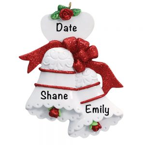 Wedding Bells Red Personalization Christmas Ornament