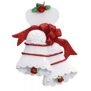 Wedding Bells Red Personalization Christmas Ornament - Blank