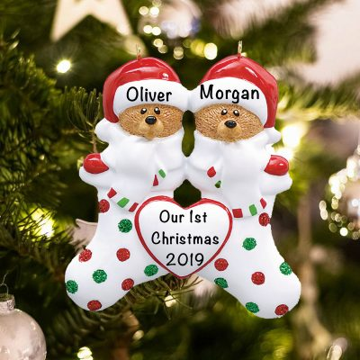 Personalized Stocking Cap Bears Family of 2 Christmas Ornament