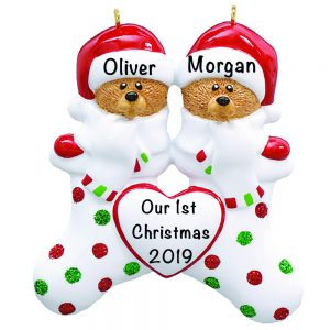 Stocking Cap Bears Family of 2 Personalized Christmas Ornament