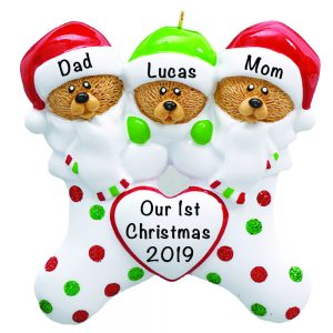 Stocking Cap Bears Family of 3 Personalized Christmas Ornament