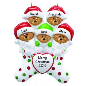 Stocking Cap Bears Family of 5 Personalized Christmas Ornament