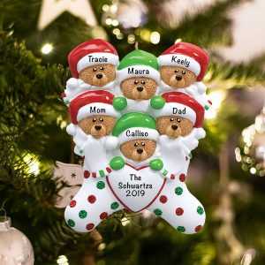 Personalized Stocking Cap Bears Family of 6 Christmas Ornament