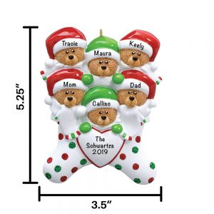 Stocking Bears Family of 6 Personalized Christmas Ornament