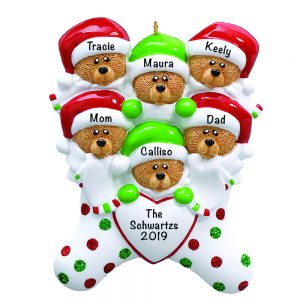 Stocking Cap Bears Family of 6 Personalized Christmas Ornament