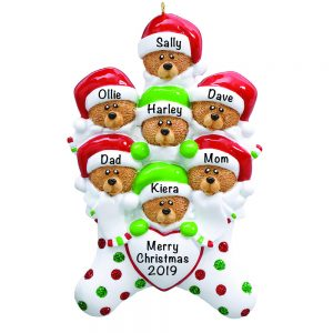 Stocking Cap Bears Family of 7 Personalized Christmas Ornament