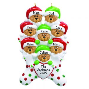 Stocking Cap Bears Family of 8 Personalized Christmas Ornament