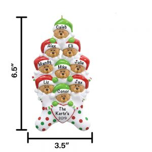 Stocking Bears Family of 9 Personalized Christmas Ornament