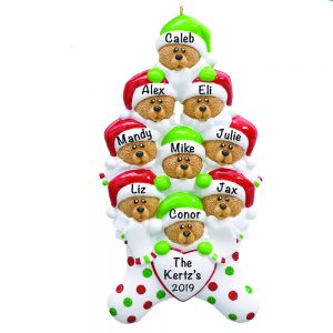 Stocking Cap Bears Family of 9 Personalized Christmas Ornament