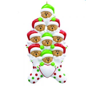 Stocking Cap Bears Family of 9 Personalized Christmas Ornament - Blank