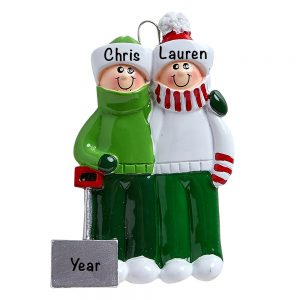 Snow Shovel Couple Personalized Christmas Ornament