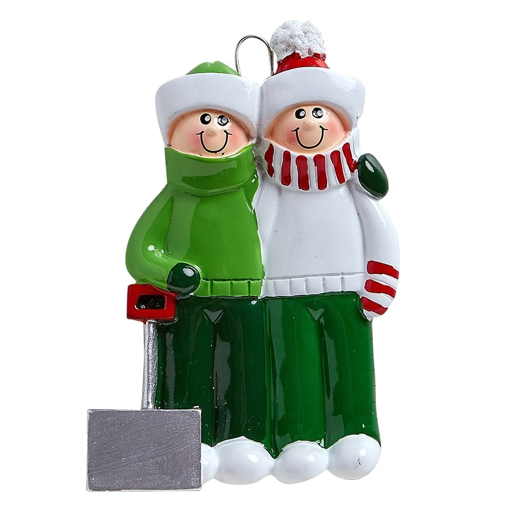 Snow Shovel Couple Personalized Christmas Ornament - Blank