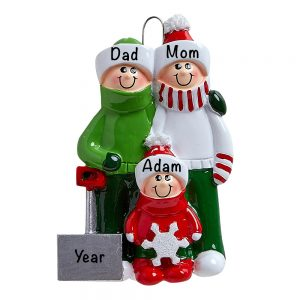Snow Shovel Family of 3 Personalized Christmas Ornament