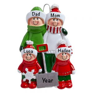 Snow Shovel Family of 4 Personalized Christmas Ornament