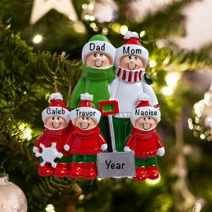 Personalized Snow Shovel Family of 5 Christmas Ornament